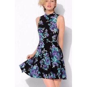 UO Kimchi Blue black green floral slater dress